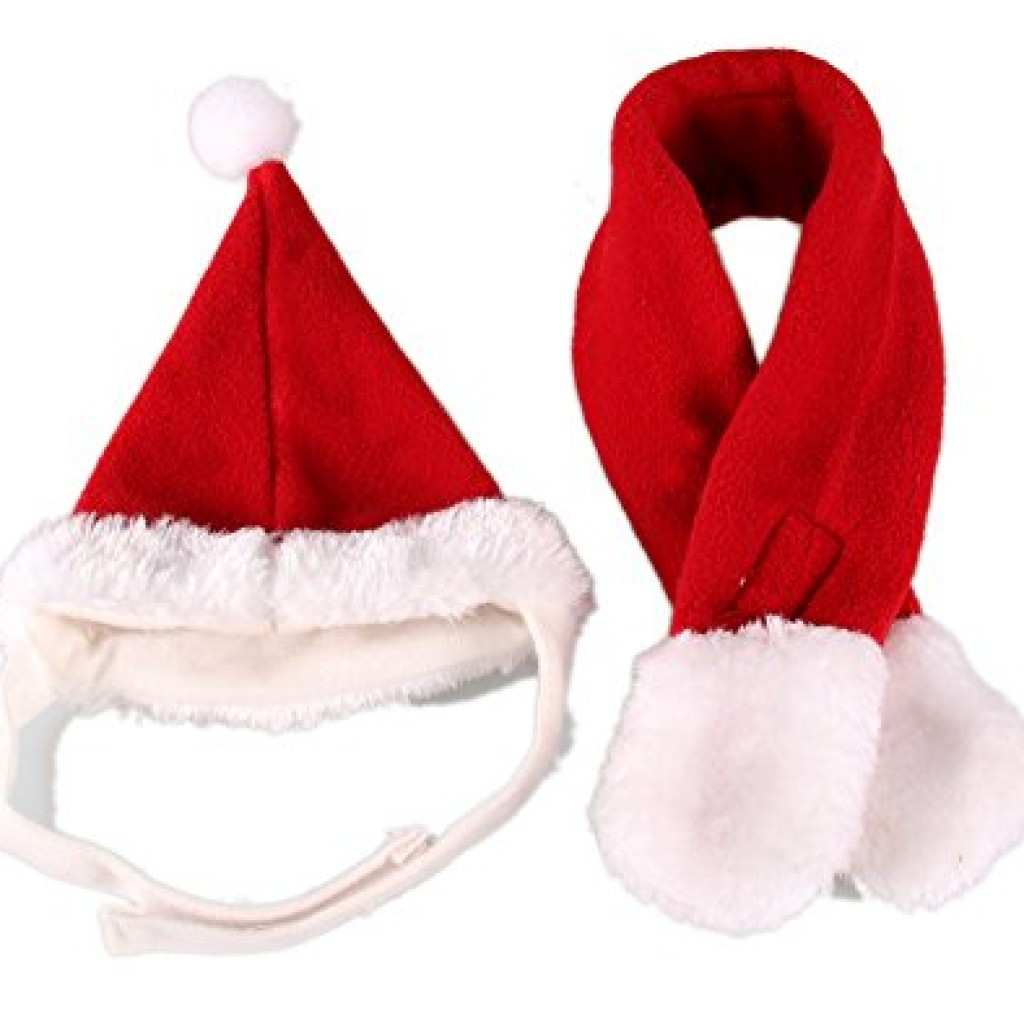 pet leso cat christmas hat with muffler puppy dog santa hat red s - Santa For Christmas