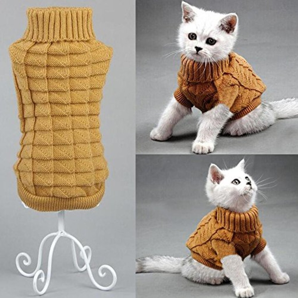 Bolbove Cable Knit Turtleneck Sweater for Small Dogs u0026 Cats Knitwear Cold Weather Outfit (Brown ... & Cheap Cat Costumes u0026 Cat Outfits - Shark Rabbit Tuxedo Peacock