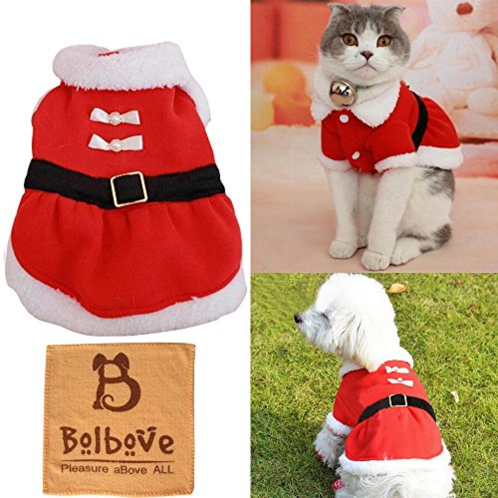 Bolbove Pet Christmas Santa Claus Dress Costume for Small Girl Dogs u0026 Female Cats Winter Coat ...  sc 1 st  cat hat u2013 Cute Cats in Hats & Cheap Cat Costumes u0026 Cat Outfits - Shark Rabbit Tuxedo Peacock