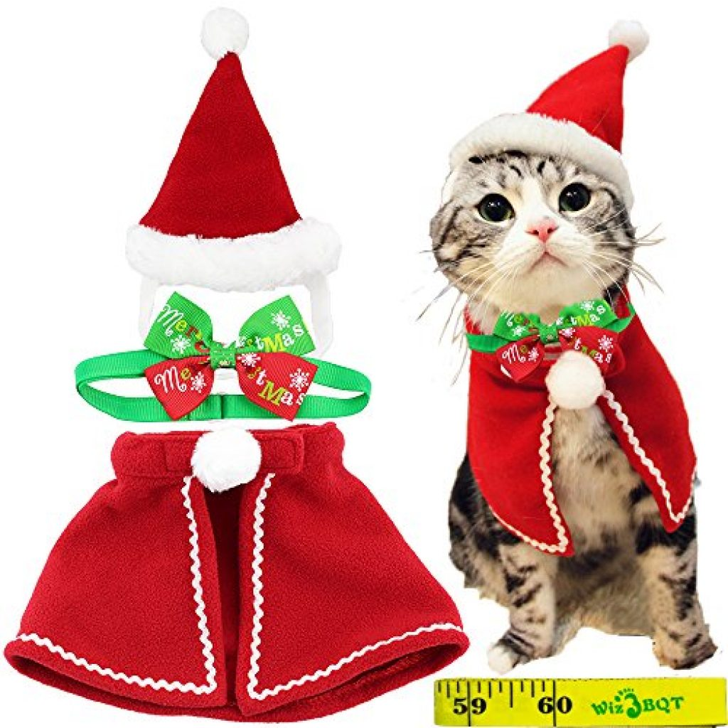 wiz bbqt cute dog cat pet christmas santa hat and cloak costume and collar bow tie for puppy kitten small cats dogs pets cute cats in hats usd